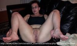 meaty pussy legs spread facial cum slut